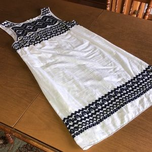 MAX STUDIO Blue White Embroidered Summer Dress M